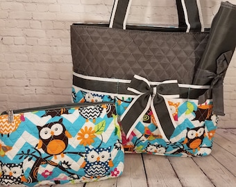 Personalized Diaper Bag | Gray Owl Diaper Bag | New Baby Gift | Baby Shower Gift