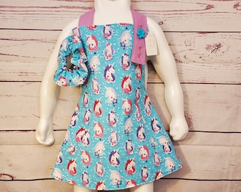 Child's Apron | Toddler Girls Apron Unicorn | Size 3 - 4 | Unicorn
