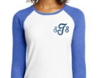 Monogrammed Ladies Raglan Tee | District ® Women's Fitted Very Important Tee ® 3/4-Sleeve Raglan