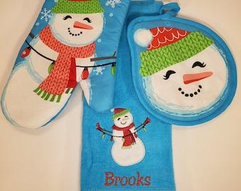 Personalized Dish Towel Set | Christmas Kitchen Decor | Snowman Decor | Hostess Gift | Housewarming Gift | Teacher Gift | Snowman Towel