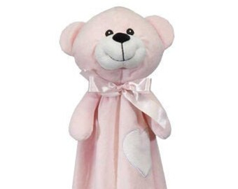Personalized Pink Bear Lovey   Valentine Gift   New Baby Gift Idea   Animal Blanket   Security Blanket   Adoption Day Gift