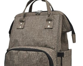 Personalized Diaper Bag | Khaki Backpack Diaper Bag | New Baby Gift | Baby Shower Gift | Dog Show Bag | Tote Bag