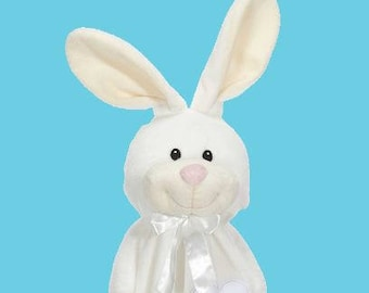 Personalized White Rabbit Lovey | Valentine Gift | New Baby Gift Idea | Animal Blanket | Security Blanket | Adoption Day Gift
