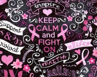 Cotton Fabric Pink Ribbon on Black   100% Cotton   Fabric for Mask   Breast Cancer   Faith   Love   Hope   Caring