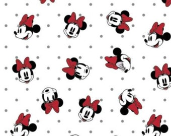 Cotton Fabric Minnie Mouse   100% Cotton   Fabric for Mask   Dreaming in Dots 85271012-01 White