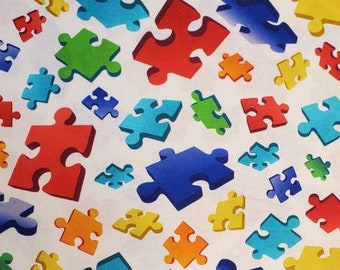 Cotton Fabric | 100% Cotton | Autism Awareness | Puzzle Fabric | Fabric for Mask