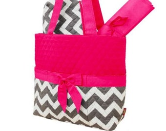 Personalized Diaper Bag | Pink Gray Chevron Diaper Bag | New Baby Gift | Baby Shower Gift
