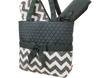 Personalized Diaper Bag | Gray Chevron Diaper Bag | New Baby Gift | Baby Shower Gift
