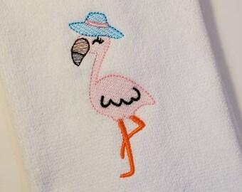 Embroidered Towel   Bar Towel   Guest Towel   Flamingo   Beach House Decor
