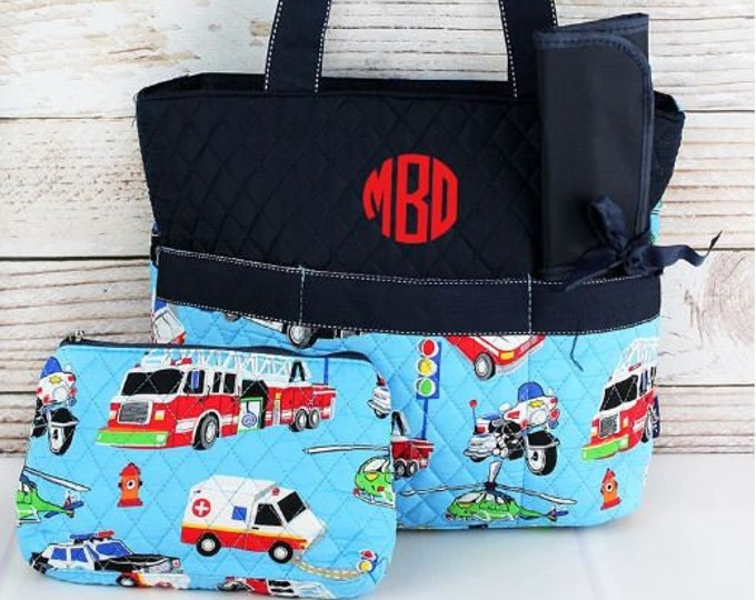 Featured listing image: Personalized Diaper Bag | Fire Police Diaper Bag | New Baby Gift | Baby Shower Gift | Dog Show Bag