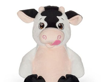 Personalized Stuffed Animal Cow | Big Brother | Big Sister | Ring Bearer | Flower Girl | Baby Shower Gift | Adoption Day Gift