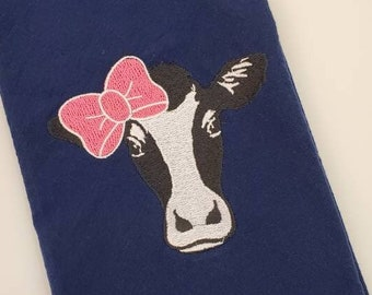 Embroidered Kitchen Towel   Dish Towel   Cow   Bar Towel   Farm House Decor