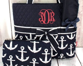 Personalized Diaper Bag | Nautical Anchors Diaper Bag | Personalized Diaper Bag | Diaper Bag for Girl | Diaper Bag for Boy | New Baby Gift