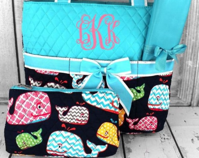 Featured listing image: Personalized Diaper Bag | Aqua Whales Diaper Bag | New Baby Gift | Baby Shower Gift | Dog Show Bag