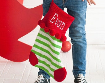 Personalized Christmas Stocking | Green Striped Knit Stocking | Christmas Home Decor | Christmas Office Decor