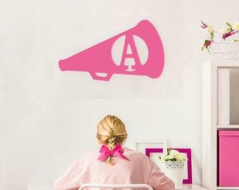 Cheer Megaphone Wood Monogram | Graduation Gift | Home Decor | Housewarming | Coworker Gift | Teacher Gift | Gift for Boss | Dorm Decor