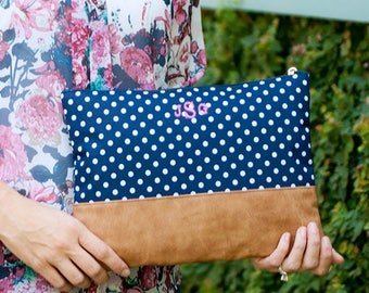 Monogrammed Charlie Dot Zip Pouch Bag | Cosmetic Bag | Bridesmaid | Maid of Honor | Make up Bag