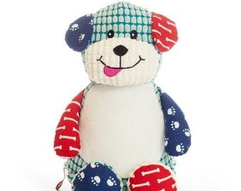 Personalized Stuffed Animal | Harlequin Dog | Big Brother | Big Sister | Ring Bearer | Flower Girl | Baby Shower Gift | Adoption Day Gift