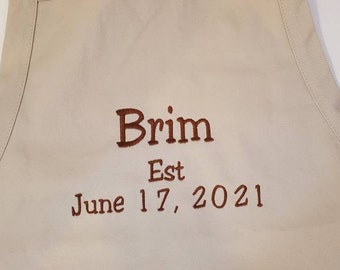 Monogrammed Full Length Apron with Pockets | Men's Apron | Grill Gift | Apron for Him