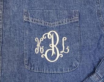 Monogrammed Denim Shirt | Bridal Party | Girls Weekend