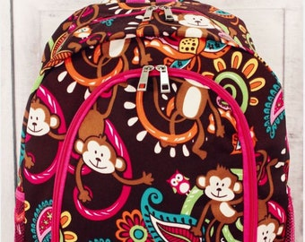 Personalized Backpack | Personalized Backpack | Monkeys Backpack | Back to School | Backpack for Girl