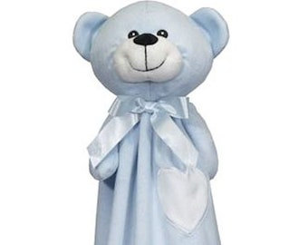 Blue Bear Lovey | New Baby Gift Idea | New Baby Gift Idea | Animal Blanket |  | Stocking Stuffer | Security Blanket | Adoption Day Gift