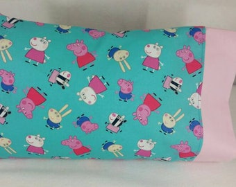 TODDLER / TRAVEL Personalized Pillow Case made with Peppa Pig Fabric | Daycare Pillow | Preschool Pillow