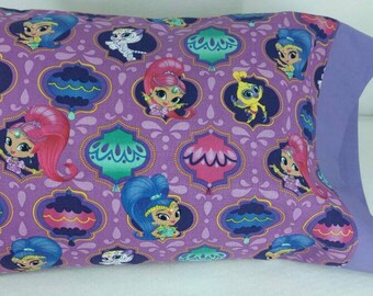 TODDLER/TRAVEL Size Personalized Pillow Case made with Shimmer and Shine Fabric | Daycare Pillow | Preschool Pillow