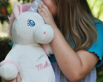 Big Sister Stuffed Unicorn | White Unicorn | Flower Girl Gift | Baby Shower Gift | Adoption Day Gift