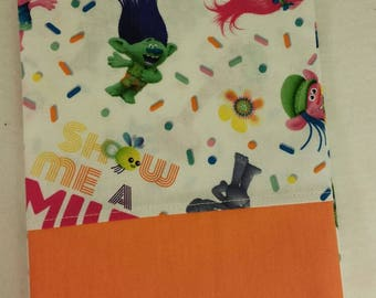 STANDARD Personalized Pillow Case made with Trolls Fabric