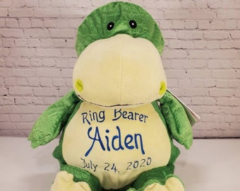 Personalized Stuffed Dinosaur   Big Brother   Little Brother   Ring Bearer   Dinosaur Baby Shower Decor   Adoption Day Gift