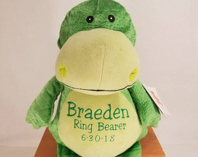 Featured listing image: Big Brother Stuffed Animal | Ring Bearer Gift | Personalized Dinosaur | Baby Shower Gift