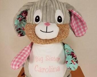 Big Sister | Big Brother Stuffed Rabbit | Easter Rabbit | Ring Bearer | Flower Girl Gift |  | Harlequin Pink Rabbit | Adoption Day Gift