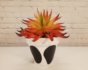 Hand Painted 3 inch Terra Cotta pot | Black and White cow design