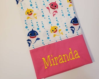 Standard Personalized Pillow Case made with Baby Shark Fabric