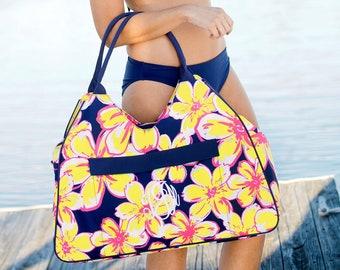 Personalized Beach Bag | Beach Floral Beach Bag | Large Beach Bag | Bridesmaid Gift | Graduation Gift