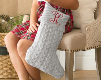 Personalized Christmas Stocking | Gray Knit Stocking | Christmas Home Decor | Office Decor
