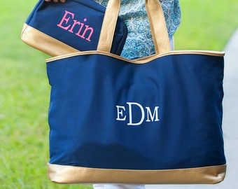 Personalized Cabana Tote Bag | Navy Tote | Bridesmaid | Teachers Gift | Vegan Leather | Maid of Honor | Cheerleader Tote