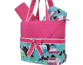 Personalized Diaper Bag | Happy Camper Pink Diaper Bag | New Baby Gift | Baby Shower Gift | Dog Show Bag | Tote Bag