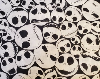 Cotton Fabric   100% Cotton   Jack Skellington   Nightmare Before Christmas   Fabric for Mask
