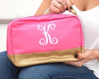 Monogrammed Cabana Cosmetic Bag | Hot Pink Canvas Cabana | Bridesmaid | Teachers Gift | Vegan Leather | Maid of Honor | Mothers Day
