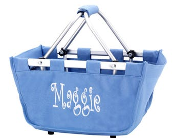Monogrammed Mini Market Tote | Halloween Basket | Christmas Basket | Toys | Beach | Picnic | Craft | Teacher | Grocery | Trunk Organizer