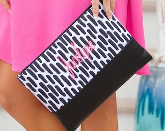 Monogrammed Carolina Nights Zip Pouch Bag | Cosmetic Bag | Bridesmaid | Maid of Honor | Make up Bag