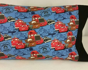 TODDLER/TRAVEL Personalized Pillow Case made with Cars Lightening McQueen Mater Fabric | Daycare Pillow | Preschool Pillow