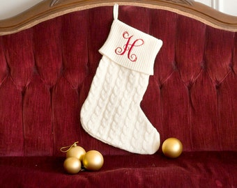 Personalized Christmas Stocking   Creme Knit Stocking   Christmas Home Decor   Office Decor