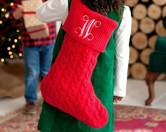Personalized Christmas Stocking   Red Knit Stocking   Christmas Home Decor   Office Decor