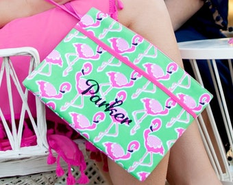 Monogrammed Flamingo Zip Pouch | Bikini Bag | Waterproof Accessory Bag | Bridesmaid Gift | Maid of Honor | Retirement Gift | Make up Bag