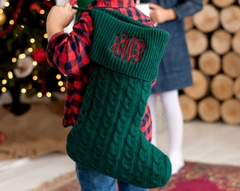 Personalized Christmas Stocking   Green Knit Stocking   Christmas Home Decor   Office Decor
