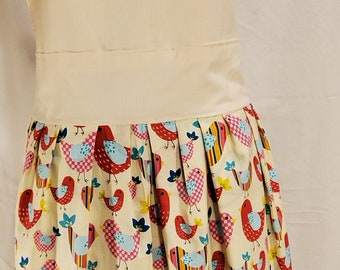 Ladies Reversible Apron | One Size | Birds | Cocoa