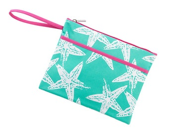 Personalized Sea Star Zip Pouch | Bikini Bag | Bridesmaid Gift | Maid of Honor | Retirement Gift | Make up Bag